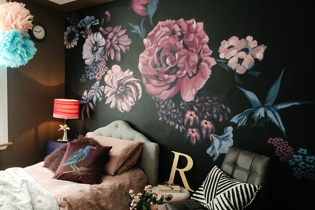 floral-wall-mural-dark-bedroom-pink-revamp