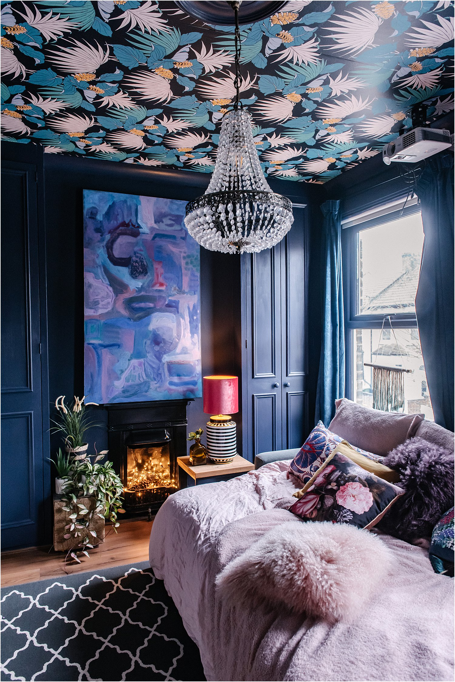 wallpaper-on-ceiling-blue-girls-bedroom