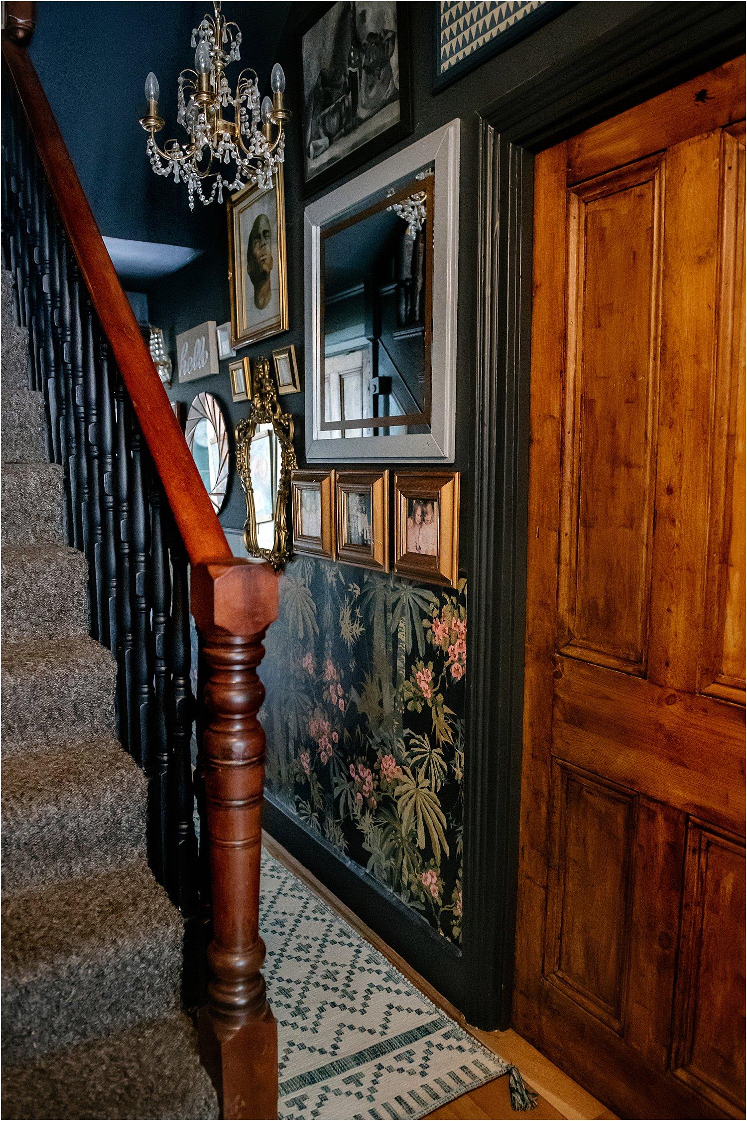 dark-blue-grey-pink-hallway-revamp-wallpaper-dado-rail-maximalist-eclectic